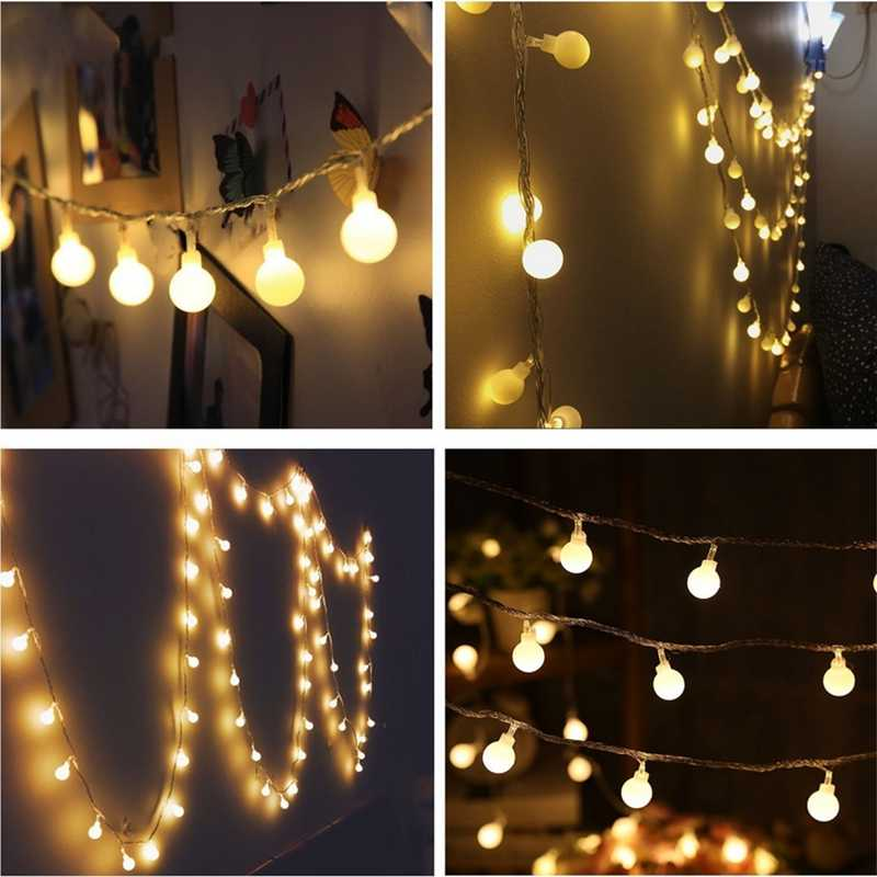 10m 20m 30m 50m led מחרוזת אורות עם לבן כדור AC110V/220 V נופש קישוט מנורת פסטיבל חג המולד אורות חיצוני תאורה