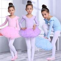 Children Kids Cotton Professional Ballet Tutu Gymnastics Leotard Girl Dance Costume Long Sleeves Short Sleeves Ballet