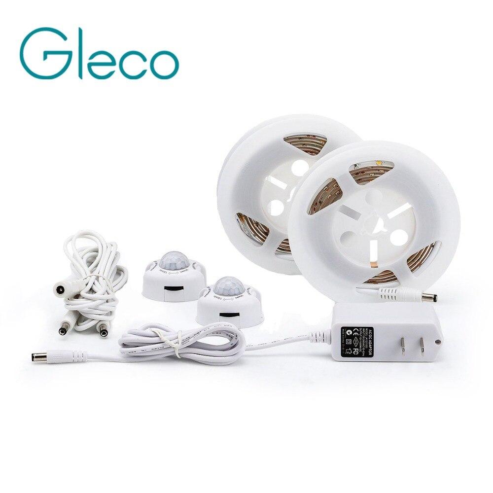 Activé Par le mouvement Capteur Lit Lumière 1.2 M LED Bande Capteur Nuit lumière 12 V Cabinet Lumière Chaude blanc avec Arrêt Automatique minuterie