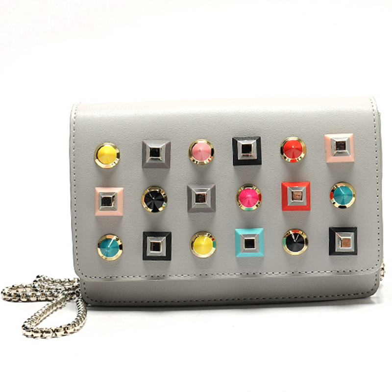 lady chain small handbag women 2017 new hit color rivets female punk fashion tre