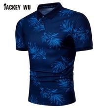 JACKEYWU Polo Shirt Men 2019 Summer Fashion Printed Half Sleeve Tees Cotton Breathable Camisa Elastic Casual Polos Blue
