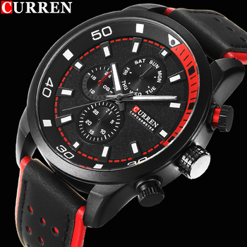 CURREN 8250 Men Military Quartz Watch fashion Luxury Leather Sports Wristwatch With Box