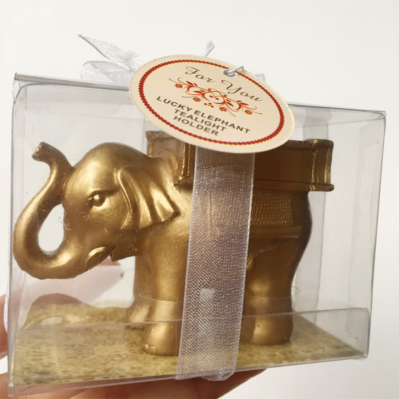 60pcs lot Resign Lucky Golden Indian Elephant Candle Holder <font><b>Birthday</b></font> <font><b>Party</b></font> Souvenir Wedding <font><b>favors</b></font> <font><b>50th</b></font> 60th Anniversary gifts image