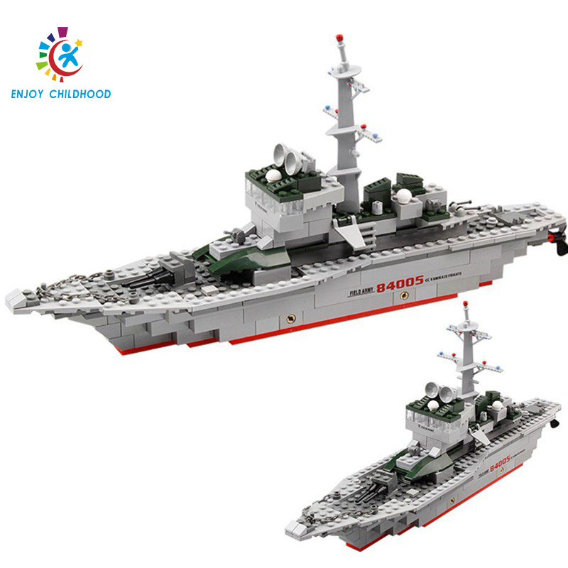 KAZI 84005 288pcs Military Frigate Building Blocks Early Educational DIY Brick Toys For Children Compatible with Legoings