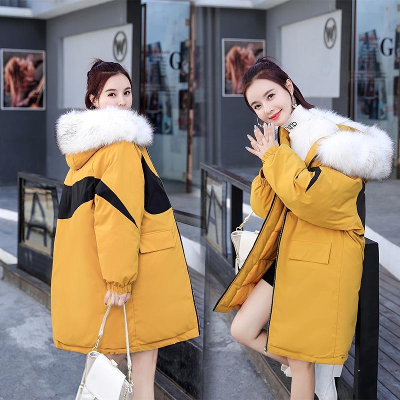 플러스 사이즈 파카 여성 고급스러운 대형 모피 칼라 후드 코트 따뜻한 여우 모피 라이너 파카 롱 겨울 자켓 여성 최고 품질-에서파카부터 여성 의류 의  그룹 1