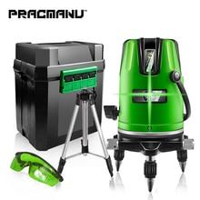 PRACMANU 5 линий 6 точек зеленый лазерный уровень автоматический самонивелирующийся 360 вертикальный и горизонтальный наклон градусов поворотный открытый режим