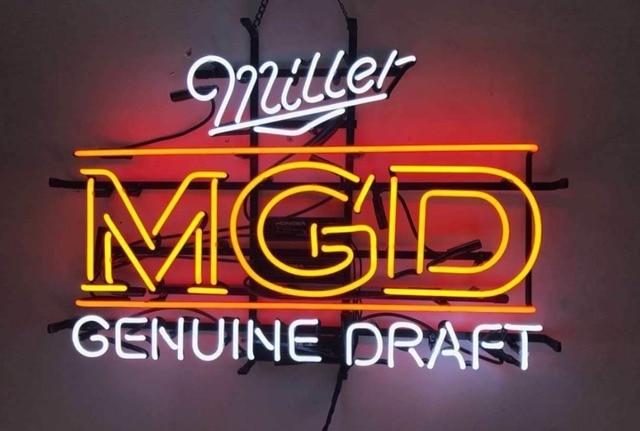Custom Miller MGD Genuine Draft Neon Light Sign Beer Bar