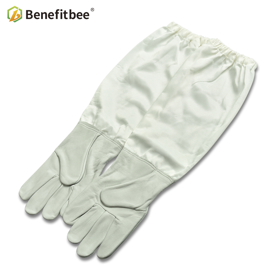 Benefitbee Apicultura Bee Gloves Beekeeping Gloves For Beekeeper Professional Protective Cotton Sleeves Work Sheepskin Leather