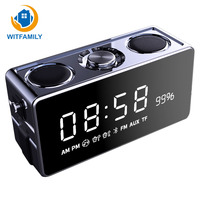 Modern Wireless Bluetooth alarm clock Digital FM radio LED display speaker bass electronic watch table Snooze Function Home