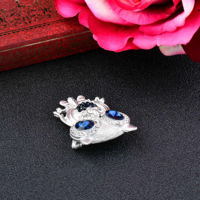 Sinleery Fashion Cute Biru Mata Burung Hantu Bros Perak Warna Hewan Broches Perhiasan untuk Wanita Syal Kerah Pin XZ009 SSH