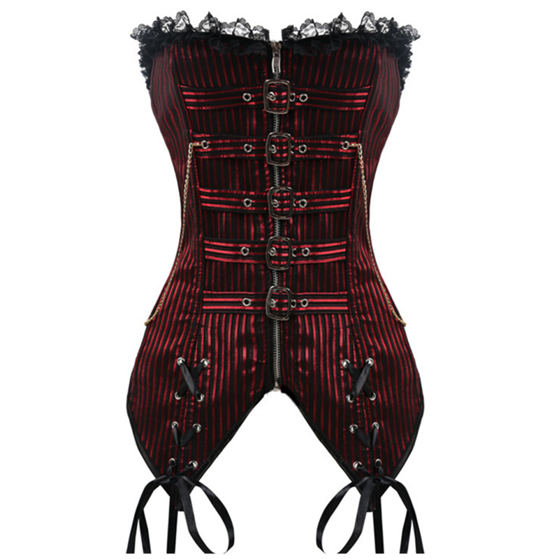 Gothic Sexy Steampunk   Corset   Women Underbust Corselet   Bustiers   Top Black Red Plus Size S-2XL Waist Trainer   Corset   and   Bustier
