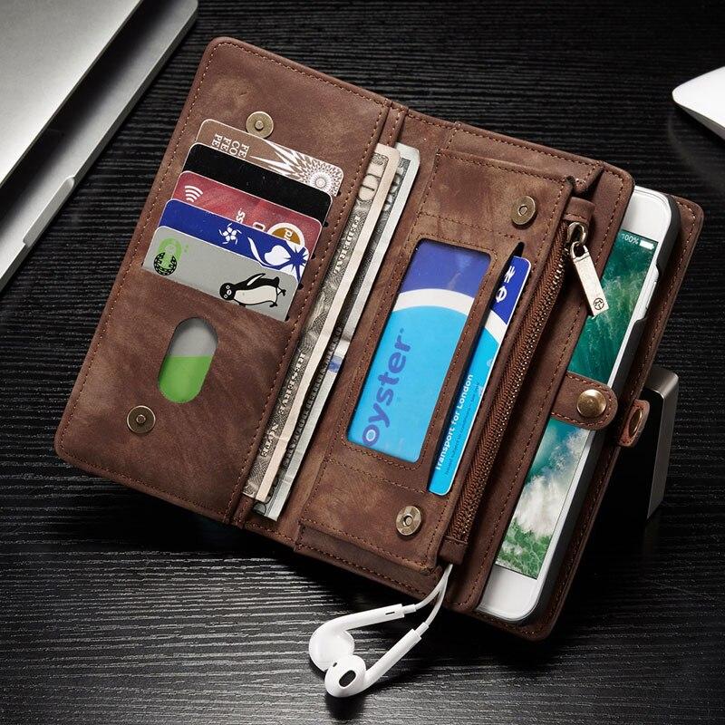 bilder für 2017 multifunktions Reißverschluss Leder Wallet Magnetic Removable Zurück Fall Für Apple Iphone 6 6 S 7 Plus 7 Plus Flip Abdeckung Karte halter