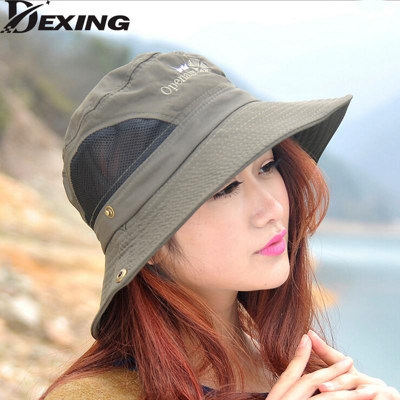 b6c682ab6d5  Dexing summer men women Bucket Hats fishing sun Outdoor Summer Fishing Wide  Brim Breathable waterproof fishing hat
