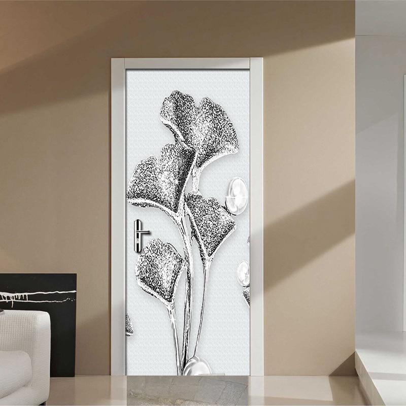 3D Modern Simple Three-dimensional Silver Flowers Mural Living Room Bedroom Door Stickers Self Adhesive Vinyl Wallpaper Fresco