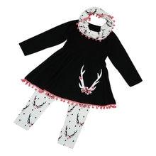 493a02a4815e4af 2018 модная детская Обувь для девочек одежда зимняя дикой природы Туника  Брюки шарф одежда, 3 предмета в комплекте детская одежд.