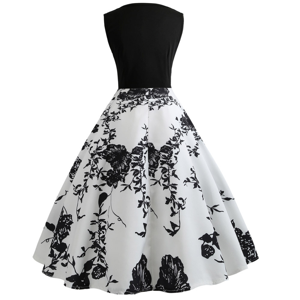 vestido de mulher Women Vintage Printing Bodycon Sleeveless Casual Evening Party Prom Swing Dress dresses for