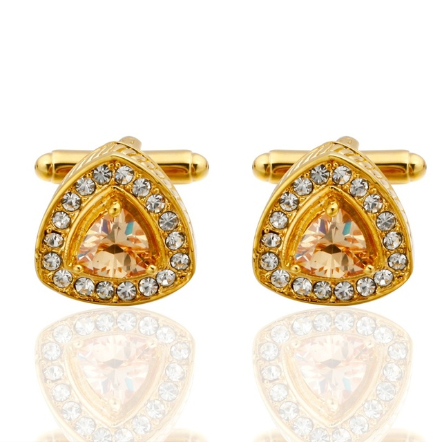Memolissa Novelty Luxury Blue White Cufflinks Mens High Crystal Gold Silver Abotoadura