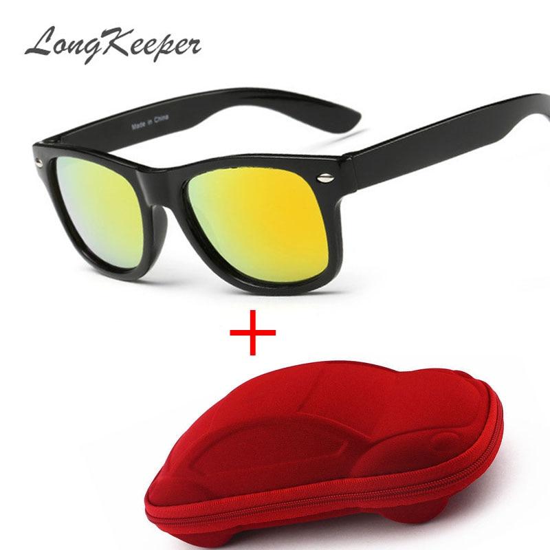 Солнцезащитные очки для детей, модные солнцезащитные очки для мальчиков и девочек с защитой от УФ-лучей и чехлом, с защитой UV400