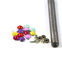 100pcs 7mm Mix 7 Colors Cone Rivet With 1pc Press Tool Metal Spike Stud Leather DIY Fashion Punk Rock