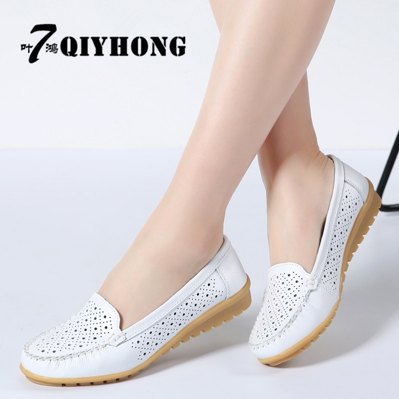 2018 Spring women flats shoes women genuine leather shoes woman cutout loafers slip on ballet flats ballerines flats 169 цены онлайн