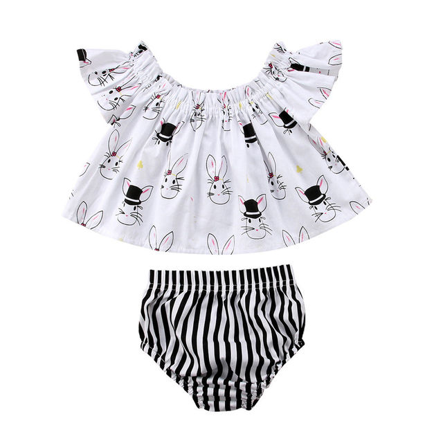 b23f900f01fa Newborn Baby Girl Infant Easter Clothes Set Off Shoulder Top T-Shirt+Shorts  Pants 2Pcs Short Sleeve Outfit 0-2T