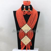 Luxury African Wedding Coral Bead Jewelry 2017 New Trendy Nigerian Traditional Beads Statement Necklace Set Free Shipping ABK421