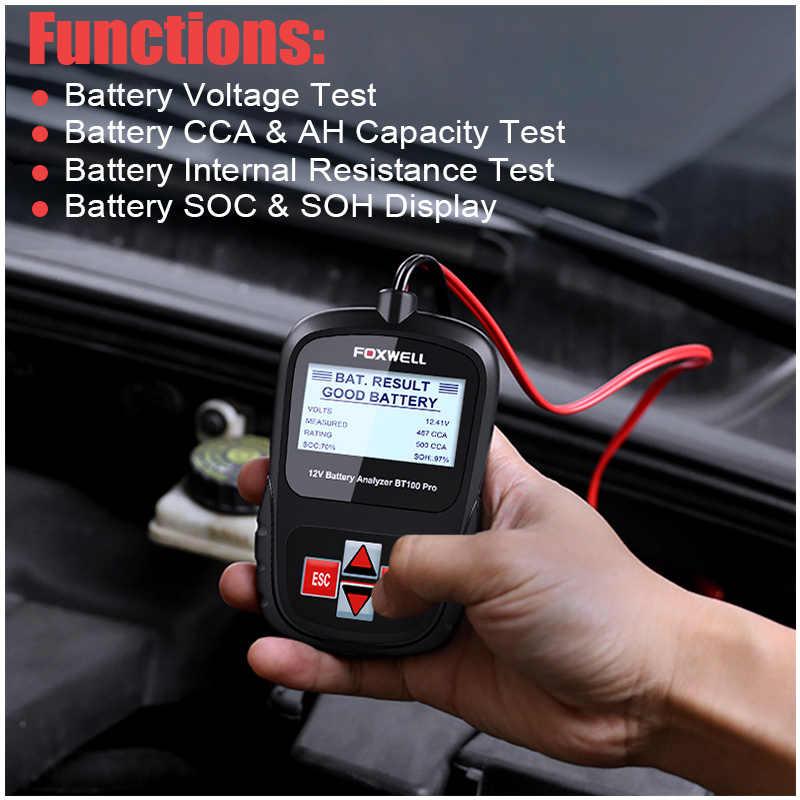 12v Car Battery Tester Analyzer Foxwell Bt100 Pro Multi Languages Automotive 12 Voltage Cranking Charging 100 1100 Cca 30 200 Ah