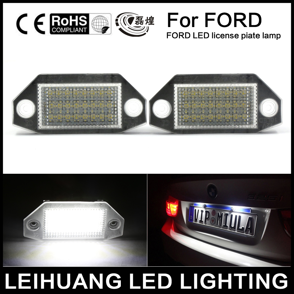 2Pcs 24SMD No Error LED Number License Plate Light Lamp For Ford Mondeo MK3 2000-2007 car led license plate lights 12v for ford mondeo mk2 fiesta fusion accessories no error white smd led number plate lamp bulb kit