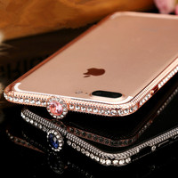 New Bling Luxury Diamond Metal bumper Frame For iPhone X 6 7 8 Plus Fashion Style Crystal Rhinestone Cover Case Glitter Capa