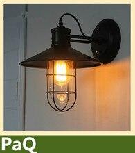Лофт старинные стены лампа из кованого железа клетка склад свет с эдисон лампы