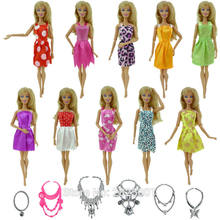 Random 18 Pcs = 12x Mixed Style Mini Gown Party Dress + 6x Plastic Fashion Necklaces Skirt Accessories Clothes For Barbie Doll(China)