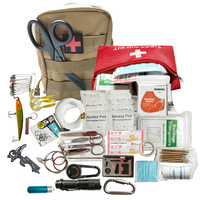 25 in 1 outdoor camping equipment travel kit multi tool SOS Flashlight survive first aid kit survival set edc tool bag