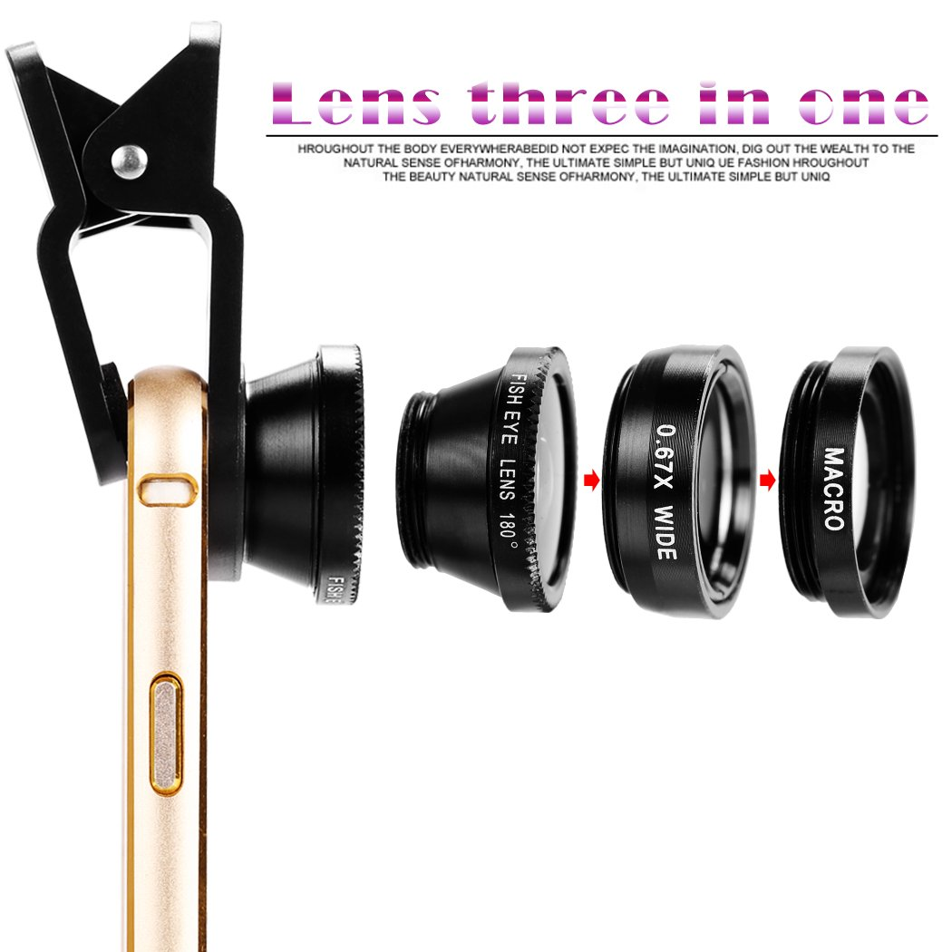 3 in1 Fisheye Phone Camera Lenses For iPhone Samsung Xiaomi lens On Phone 6