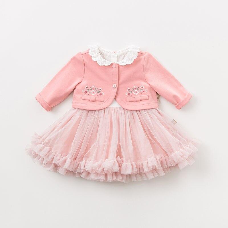 DBM9591 dave bella bébé fille robe à manches longues automne robes rose vêtements enfants fête d'anniversaire boutique robe - 2