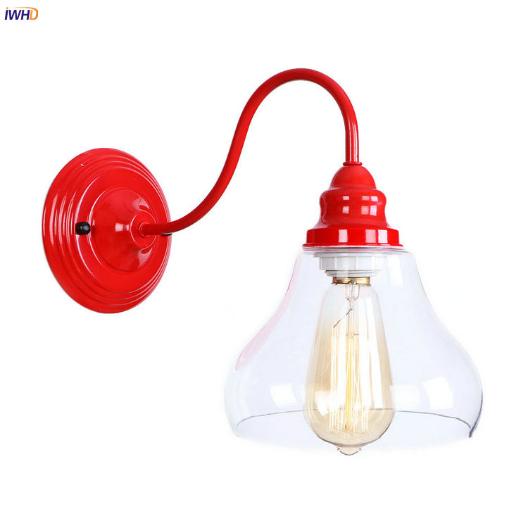 IWHD Red Iron Metal LED Wall Light Fixtures Restaurant Glass Loft Industrial Vintage Wal ...