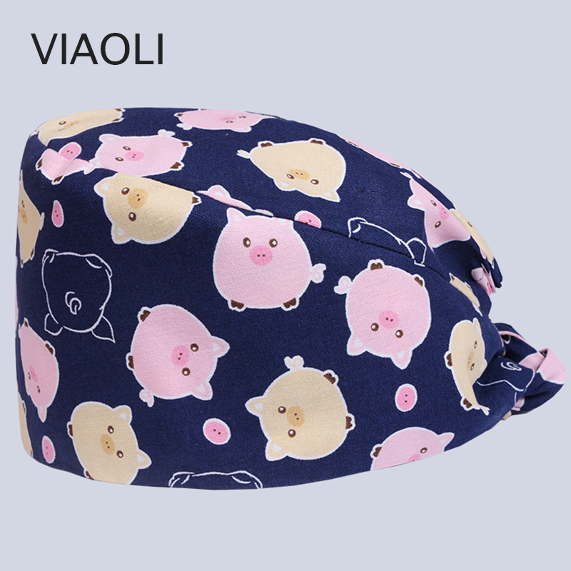 Viaoli New High Quality Surgical Cap Pet Doctor Hat Dentist Hat Beauty Hospital Professional Cap Printing Cotton  Scrub Hats