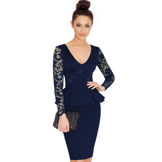 2017 Long sleeve peplum dress Deep V neck sexy lace dress plus size elegant  wear to work bodycon dress hot Women midi dress accf1367a