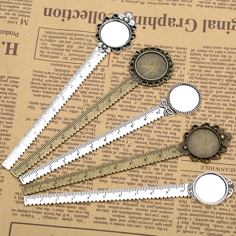 2pcs/lot Antique Bronze Vintage Metal Ruler Bookmark Cabochon Base Bookmark Setting fits 20mm Cabochon Cameo DIY Bookmarks