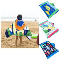Toddler Hooded Beach Bath Towel Shark Soft Swim Pool Coverup Poncho Cape For Boys Kids Children 1 12 Years Old Bath Robe