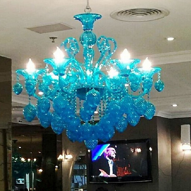 Design Modern Chandeliers Light Red Black Purple Blue Yellow Murano Style Gl Lighting Fixtures Lamp Study Project