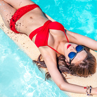 HOT Fashion Black And Red Color Swimwear Push Up Bikini Set Sexy Bandage Bikini Bathing Suit