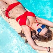 P&j 2017 HOT black and red color swimwear push up bikini set sexy bandage Bikini Bathing suit M-XL plus size