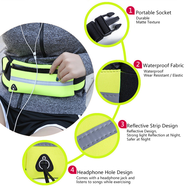 Men Women Running Waist Bag Waterproof Mobile Phone Holder Jogging Sports Running Gym Fitness Bag Lady Sport Accessories 4