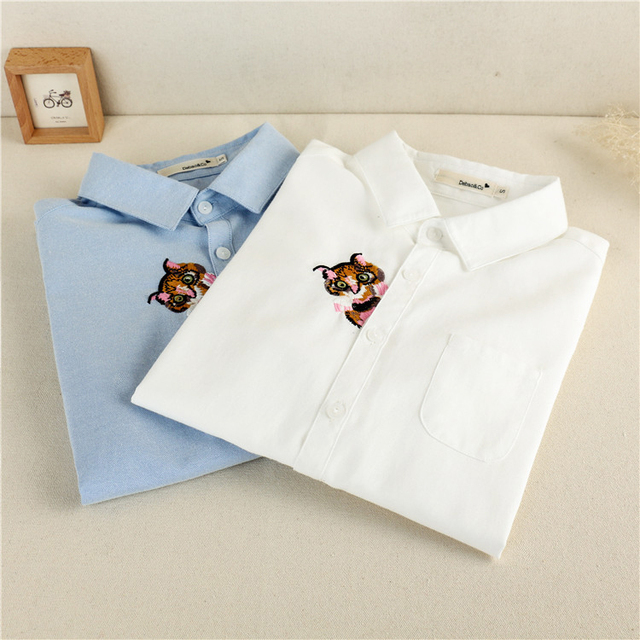 Embroidery Blouses Women New Autumn Women Long Sleeve Shirts Blouse Cotton Oxford Casual White Shirts Female Tops Clothing Women Blouses & Shirts
