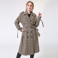 Women Autumn Long Trench Coats 2017 Female Causal A Line Plaid Turn Down Collar Sashes Camel
