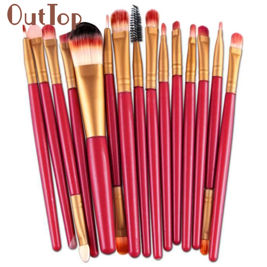 Top Quality Gold Red Handle 15pcs Makeup Brush Set tools Make-up Toiletry Kit Wool Make Up Brush Set jan12