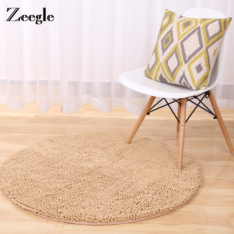 Zeegle Chenille Shaggy Soft Round Carpet For Living Room Washed Silk Anti-skid Rug Kids Room Decoration Mat