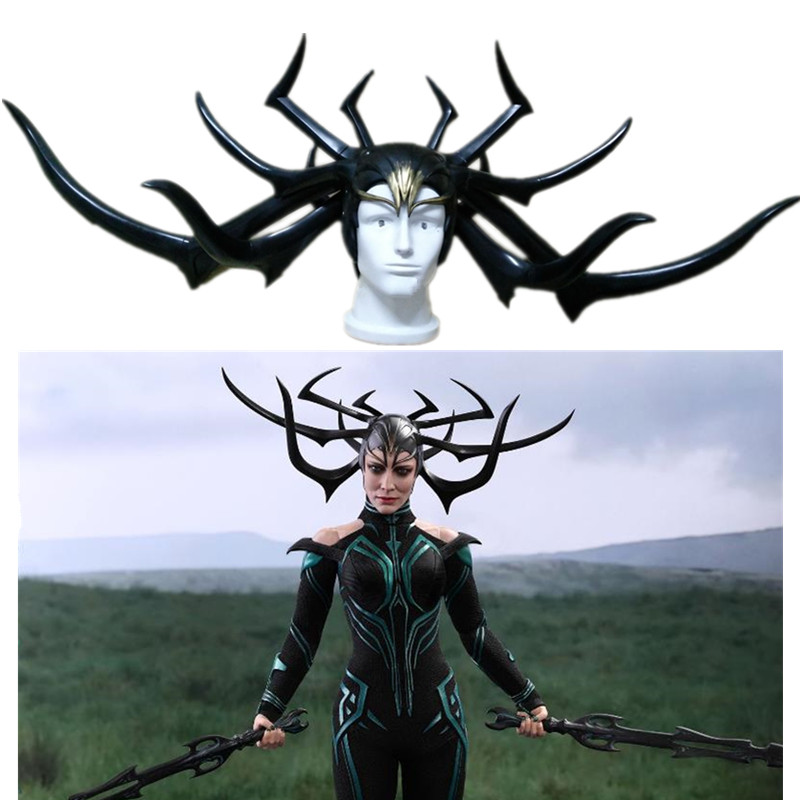 2017 Movie Thor 3 Hela PVC Cosplay Costumes Mask Helmet Halloween Prop