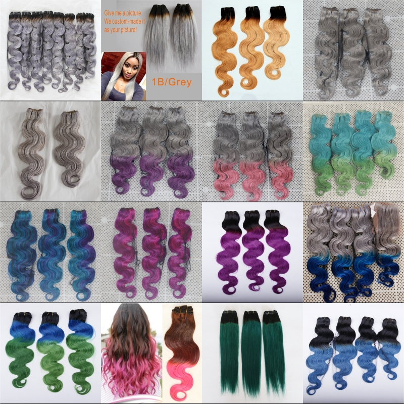Ombre Hair Extensions Mermaid 1bbluegreen Brazilian Virgin Human