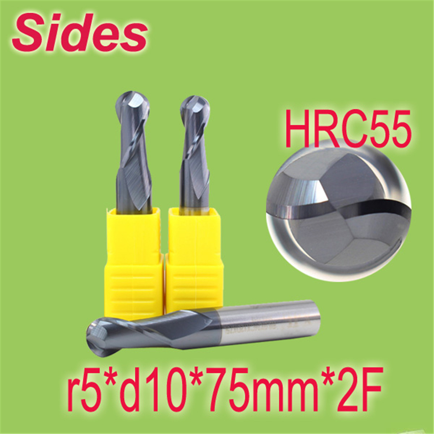 Free Shipping  r5*d10*75mm*2F HRC55  Tungsten Carbide Sphere  End Mill 2F Ballnose Endmill Cutter hrc55 r0 2 r0 5 r0 75 r1 0 r0 72 ball end carbide milling cutter tungsten solid steel alloy taper endmill free shipping